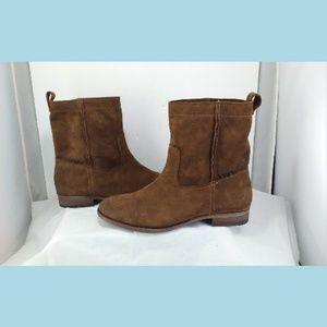 Frye Cara Short Chestnut Suede Boots